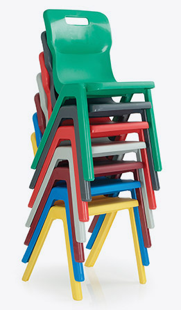 multi coloured school chairs