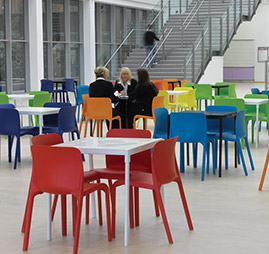 canteen chairs and tables
