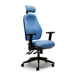 blue orthopaedic and bad back chair